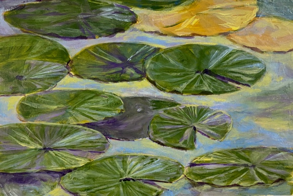 Lily Pads. Acrylic Painting. For Sale