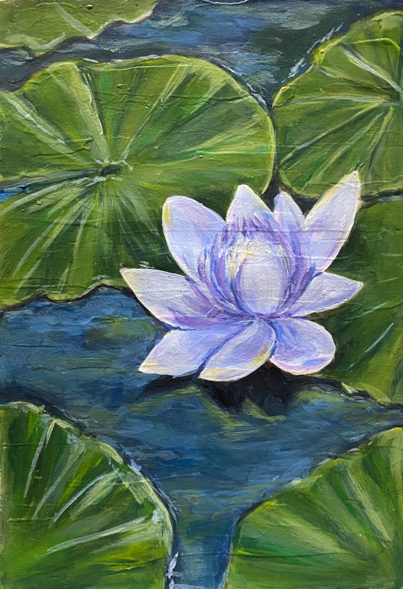 Water Lily. Acrylic Painting. For Sale