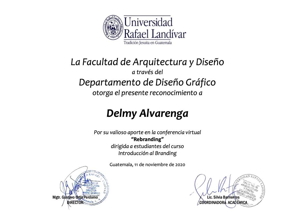 Diploma de reconocimiento  Universidad Rafael Landívar Guatemala 2020